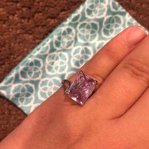 Premier Designs Emerald cut ring. Pink stone.